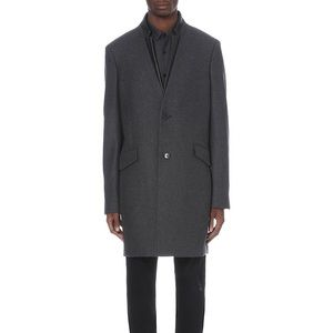 The Kooples Men's wool coat with leather trim